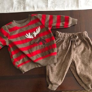 Holiday moose outfit set 0-3 months Carter's